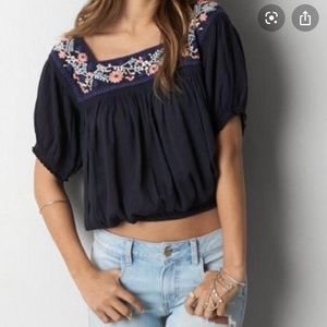 American Eagle Navy Flower Embroidered Blouse